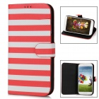 Stripe Style Protective PU Leather Case for Samsung Galaxy S4 i9500 - Red + White