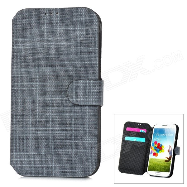 Cloth Style Protective PU Leather Cover Plastic Back Case Stand for Samsung Galaxy S4 i9500 - Black enkay quick sand style protective plastic back case for samsung galaxy note 4 n9100 blown