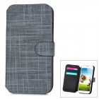 Cloth Style Protective PU Leather Cover Plastic Back Case Stand for Samsung Galaxy S4 i9500 - Black