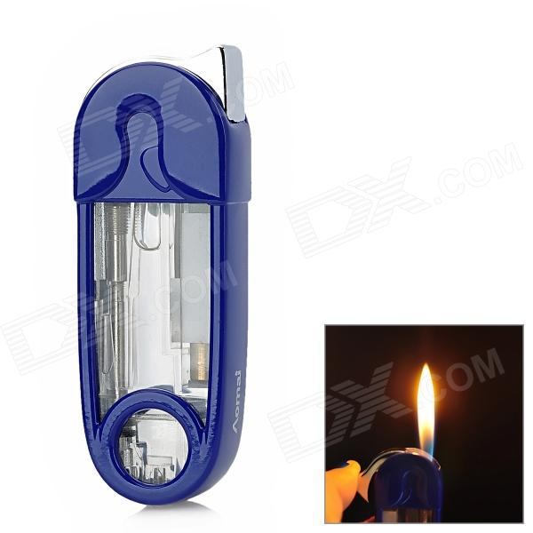082 Unique Pin Style Zinc Alloy + Plastic Yellow Flame Butane Jet Lighter - Blue + Transparent
