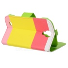 Protective PU Leather Case w/ Hand Strap for Samsung Galaxy S4 i9500 - Yellow + Red + Pink + Green