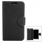 Basketball Pattern Matte Protective PU Leather + Plastic Case w/ Stand for Samsung i9500 - Black