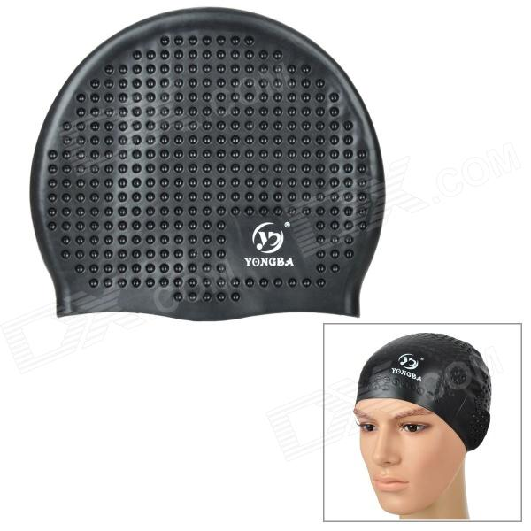 YONGBA Hubble Style Soft Silicone Swimming Hat / Cap - Black win max wmb07200 stylish silicone swimming cap white