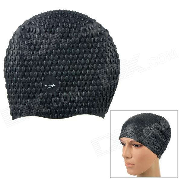 Hubble Style Soft Silicone Swimming Hat / Cap - Black win max wmb07200 stylish silicone swimming cap white