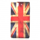 Retro UK National Flag Style Protective PVC Back Case for Sony Xperia Z L36h - Blue + Red