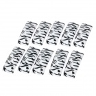 Zebra Pattern Style Nail Art Decorative Plastic Artificial Nail Tips - White + Black (100 PCS)