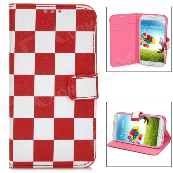 Fashion Square Pattern Flip-Open Style PU Leather Case for Samsung Galaxy S4 - Red + White стоимость