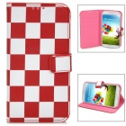 Fashion Square Pattern Flip-Open Style PU Leather Case for Samsung Galaxy S4 - Red + White