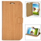 Protective Wood Grain Style Flip-Open PU Leather Case for Samsung Galaxy S4 - Wood