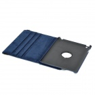 Stylish 360 Degree Rotational Stand PU Leather Case for Ipad 4 - Dark Blue