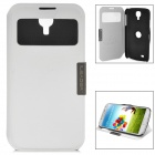 Automatic Sleep/Wake PU Leather Smart S View Rotatable Case for Samsung Galaxy S4 - White + Black