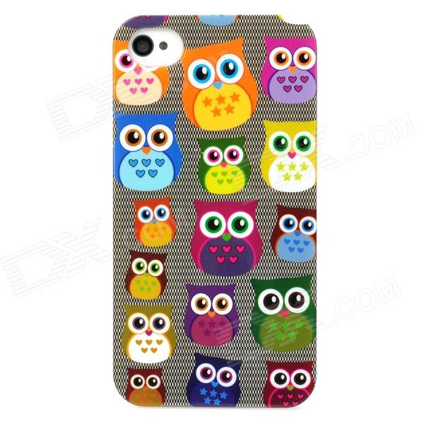 Cute Owl Pattern Plastic Back Case for Iphone 4 / 4S - Multicolored cute owl pattern tpu back case for iphone 6 plus 5 5 yellow orange multi color