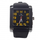 Super Speed V0124  Men's Square Dial Wide Band Quartz Wrist Watch - Black + Yellow + Red (1 x LR626)