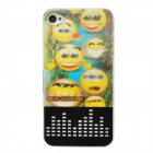 3D Smile Face Pattern LED Flashing Plastic Back Case for Iphone 4 / 4S - Multicolored