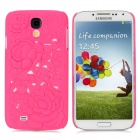 3D hohle-Out Rose Style Protective PC zurück Fall für Samsung Galaxy S4 i9500 - Deep Pink
