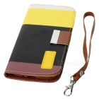 Protective Flip-Open Style PU Leather Case w/ Card Slot for Samsung Galaxy S4 - Multicolored