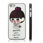 ENKAY Happy Girl Pattern Protective Plastic Case for Iphone 5 - Multi-colored