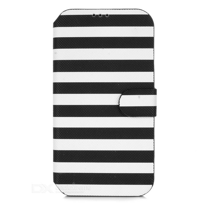 Fashion Stripe Pattern Flip-Open Style PU Leather Case for Samsung Galaxy S4 - Black + White qi wireless charger receiver pu leather case k8 charging pad kit for samsung galaxy s4 white