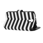 Fashion Stripe Pattern Flip-Open Style PU Leather Case for Samsung Galaxy S4 - Black + White