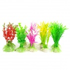 E5ZTY Aquarium / Fish Tank Simulation / Artificial Water Plants  - Green + Red + Purple (10 PCS)