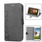 Flowers Style Protective PU Leather + Plastic Case for Samsung Galaxy S4 i9500 - Black