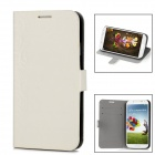 Flowers Style Protective PU Leather + Plastic Case for Samsung Galaxy S4 i9500 - Beige