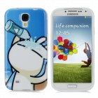 Cute Tuzki Style Protective TPU Back Case for Samsung Galaxy S4 i9500 - Blue + White + Black
