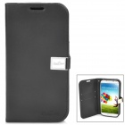 Protective Flip-Open Style Genuine Leather Case w/ Card Slot for Samsung Galaxy S4 - Black