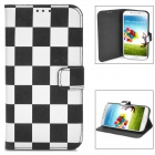 Fashion Square Pattern Flip-Open Style PU Leather Case for Samsung Galaxy S4 - Black + White