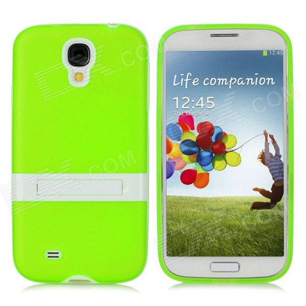 Protective TPU Back Case w/ Stand for Samsung Galaxy S4 i9500 - Green + White protective tpu pc back case w stand for samsung galaxy s4 i9500 red transparent