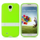 Protective TPU Back Case w/ Stand for Samsung Galaxy S4 i9500 - Green + White