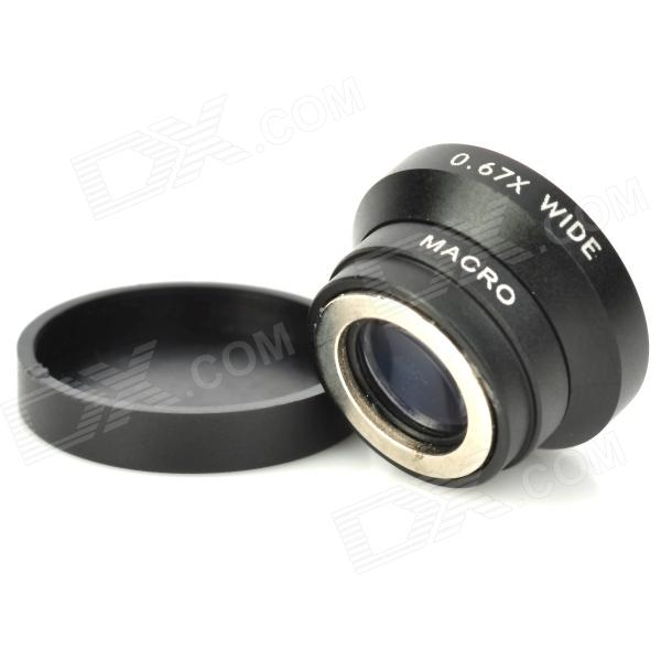 LX-W-70 0.67X Zoom Wide Angle + Macro Lens Set for Iphone - Black
