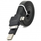 USB zu 30-Pin / 8-Pin Blitz / Micro USB Data / Laden Flachkabel - Schwarz (1m)