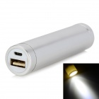 Cylinder-Shaped External 2600mAh Power Battery Charger w/ 1W LED Flashlight for Cell Phone - Silver
