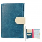 Protective PU Travel Passport Cover Case w/ Detachable Card Holder - Purplish Blue