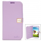 Protective Flip-Open Style Genuine Leather Case w/ Card Slot for Samsung Galaxy S4 - Purple
