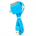 USB to 30-Pin / 8-Pin Lightning / Micro USB Data / Charging Cable for Samsung / iPhone - Blue (1m)