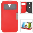 Automatic Sleep/Wake PU Leather Case for Samsung Galaxy S4 - Red + Black