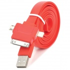 3-in-1 USB to 30-Pin / 8-Pin Lightning / Micro USB Charging / Data Flat Cable - Red (1m)