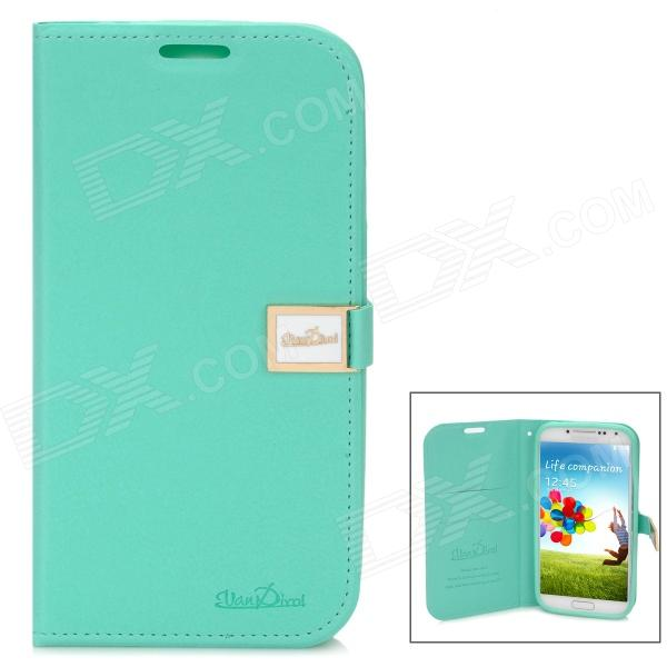 Protective Flip-Open Style Genuine Leather Case w/ Card Slot for Samsung Galaxy S4 - Light Green