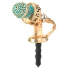 Cute Microphone Style Zinc Alloy + Rhinestone 3.5mm Anti-Dust Plug for iPhone - Golden + Cyan