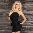 LC2824-2 Sexy Rivets-embellished Bustline Peplum Dress in Black  (Size-L)