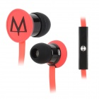 MAYA E17 In-Ear Flat Cable Earphones w/ Microphone / Clip - Red + Black (3.5mm Plug / 140cm)
