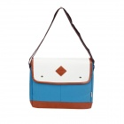 Stylish Canvas PU Shoulder Bag - Blue + Brown + Beige