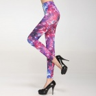 Universal Sexy Women's Planets Legging - Red + Purple + Blue (Free Size)