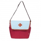 Simple Canvas PU Shoulder Bag - Deep Red + Brown + Blue