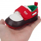Tassel Velcro Baby Shoes - Red + Brown + White (0~6 Months / Pair)