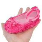 Flower Velcro Baby Shoes - Deep Pink (6~9 Months / Pair)