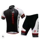INBIKE LA282 Men's Cycling Short Sleeve T-shirt + 1/2 Pant Suit - Black + Red + White (Size XL)