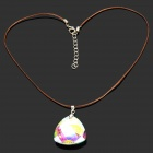 Elegant Triangle Shaped Crystal Pendant Necklace for Women - Brown + White